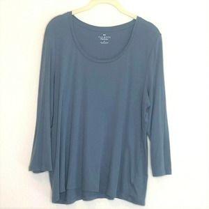 Talbots Pima Cotton Tee Blue Gray 3 Quarter Sleeve